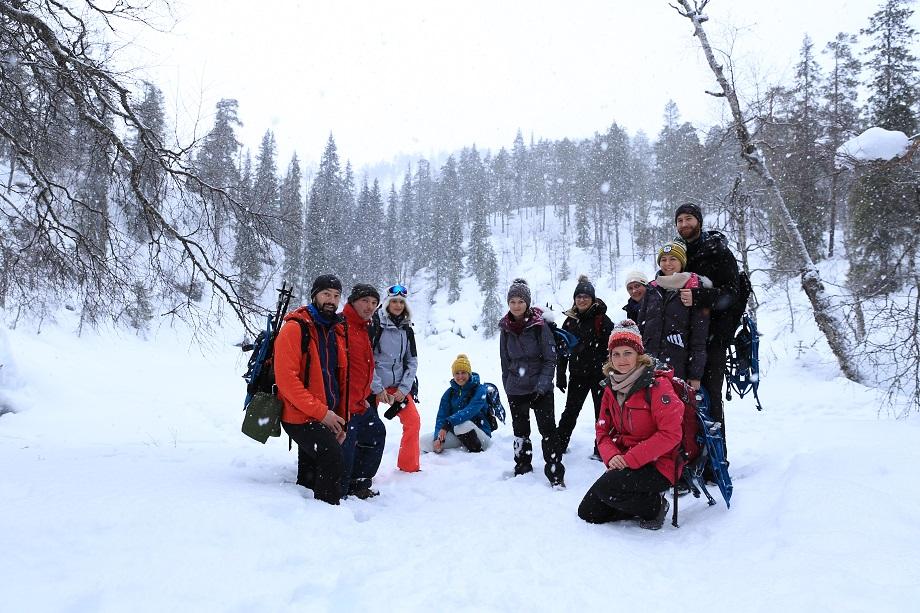 Korouoma kanyon Finnország Lappföld téli túra
