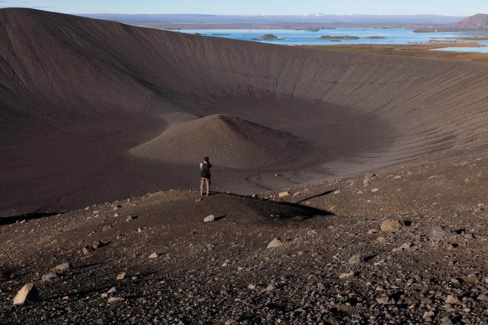 Hverfjall vulkán kráter izlandi körutazás roadtrip