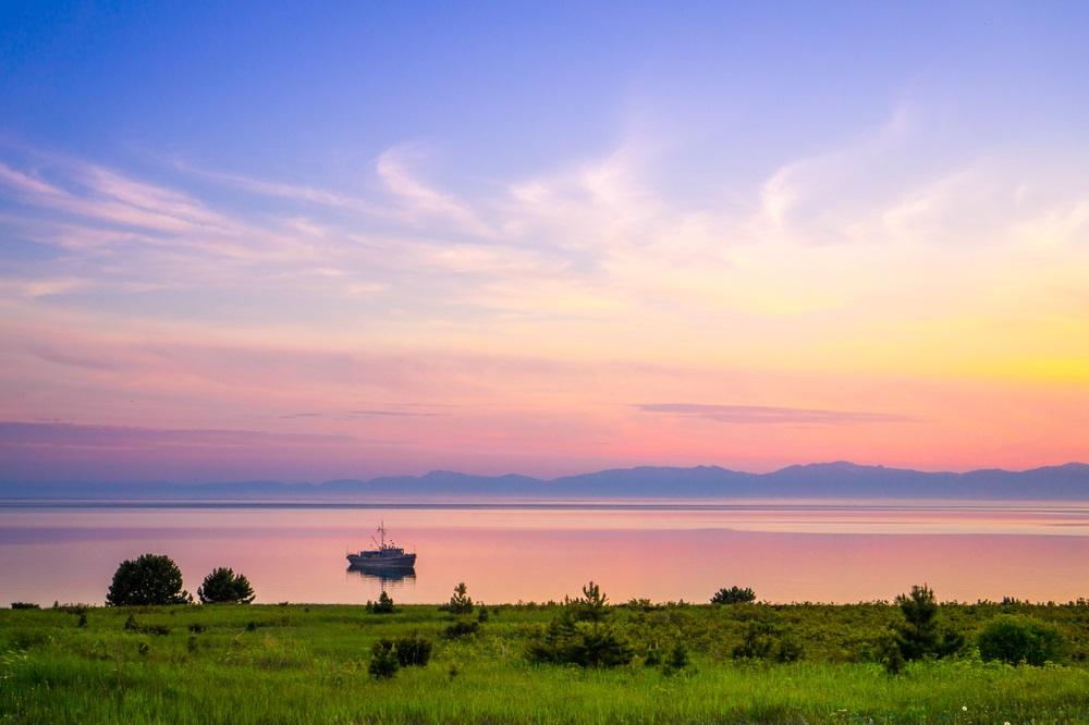 Naplemente a Bajkál tó partján